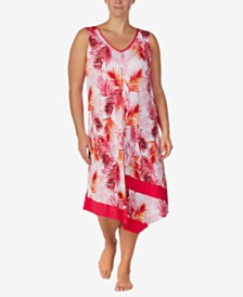 Ellen Tracy Plus-Size Printed Midi-Nightgown