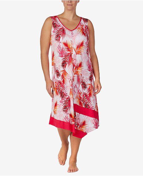 Ellen Tracy Plus-Size Printed Midi-Nightgown