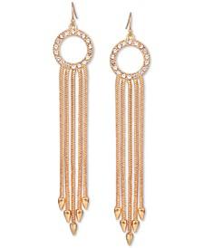Gold-Tone Pavé Circle & Multi-Chain Drop Earrings
