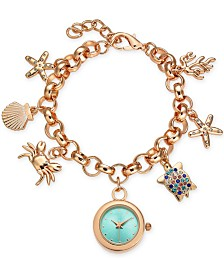 Charter Club Rose Gold-Tone Sea-Motif Charm Bracelet Watch 25mm, Created for Macy's