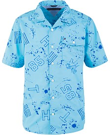 Tommy Hilfiger Big Boys Brendon Paint Splatter Cotton Shirt
