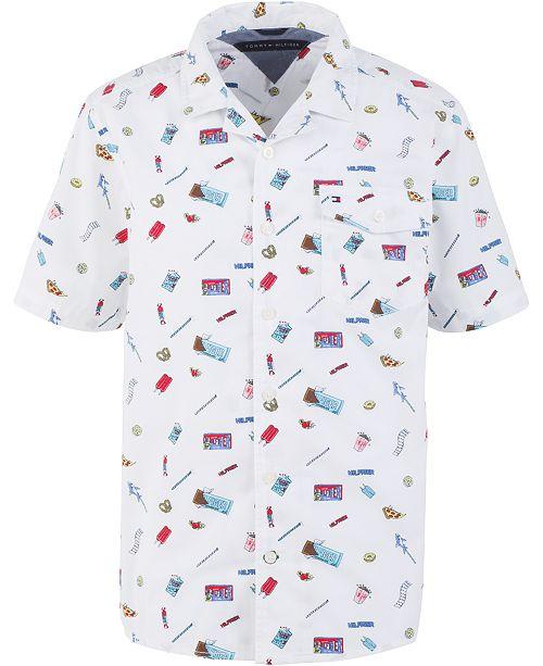 Tommy Hilfiger Big Boys Franco Candy-Print Poplin Camp Shirt