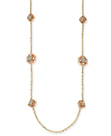 "Charter Club Gold-Tone Crystal & Stone Cluster Strand Necklace, 42"" + 2"" extender, Created for Macy's"