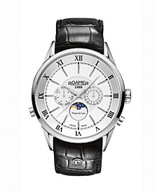 Men's 3 Hands Moonphase 43 mm Dress Watch in Stainless Steel Case