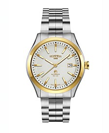 Men's 3 Hands Date 42 mm Dress Watch in Steel Case and Steel Bracelet