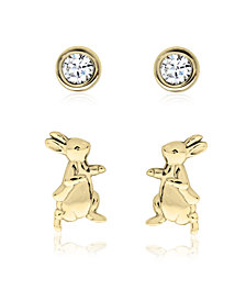 Beatrix Potter Gold Plated Silver Peter Rabbit Set of 2 Stud Earrings
