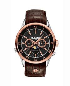 Roamer Men's 3 Hands Moonphase 43 mm Dress Watch in Steel Case on Strap