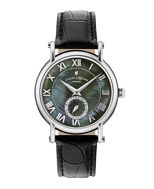Jaques Du Manoir Jacques Du Manoir Ladies' Black Genuine Leather Strap with Stainless Steel Case with Mother of Pearl Dial and Diamond Sub Dial, 36mm
