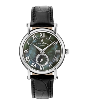 Jacques Du Manoir Ladies' Black Genuine Leather Strap with Stainless Steel Case with Mother of Pearl Dial and Diamond Sub Dial