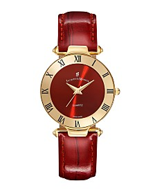 Jacques Du Manoir Ladies' Red Genuine Leather Strap with Goldtone Case and Red Dial, 33mm