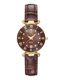 Jacques Du Manoir Ladies' Brown Dark Genuine Leather Strap with Goldtone Case and Brown Dial with Diamond Markers, 26mm