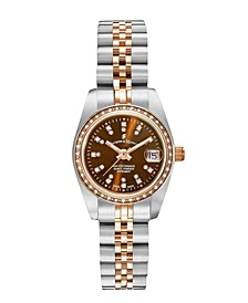Jacques Du Manoir Ladies' Two Tone Silver or Gold Rose Stainless Steel Bracelet with Twotone Case and Brown Sunray Dial and Diamond Markers and Bezel, 26mm