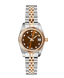 Jacques Du Manoir Ladies' Two Tone Silver or Gold Rose Stainless Steel Bracelet with Goldtone Case and Brown Sunray Dial and Diamond Markers, 26mm