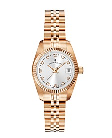 Jacques Du Manoir Ladies' Rose Gold Stainless Steel Bracelet with Rosegoldtone Case with Silver Sunray Dial and Diamond Markers, 26mm