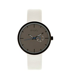 Quartz The 3900 Genuine White Leather Watch 40mm