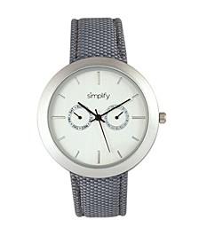 Quartz The 6100 White Dial, Canvas-Overlaid Grey Polyurethane Strap Watch 43mm