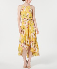 Vince Camuto High-Low Floral Flounce Maxi Dress