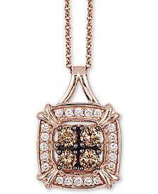 "Chocolatier® Diamond Halo Cluster 18"" Pendant Necklace (1/4 ct. t.w.) in 14k Rose Gold"