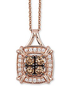 "Le Vian Chocolatier® Diamond Halo Cluster 18"" Pendant Necklace (1/4 ct. t.w.) in 14k Rose Gold"