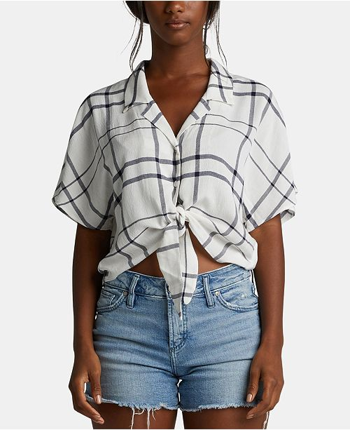Silver Jeans Co. Plaid Cropped Tie-Front Shirt