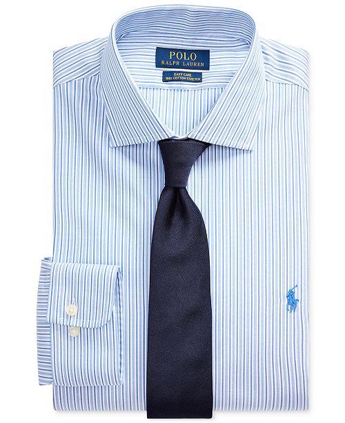 Polo Ralph Lauren Men's Classic/Regular Fit Easy Care Stretch Striped Dress Shirt