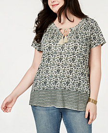 Lucky Brand Plus Size Printed Keyhole Top