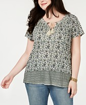 553f1a7f44cd01 Lucky Brand Plus Size Printed Keyhole Top