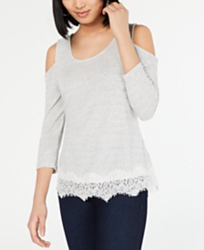 I.N.C. Cold-Shoulder Lace-Trim Top, Created for Macy's