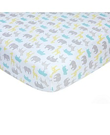 Cotton Sateen Crib Sheet - Safari Print