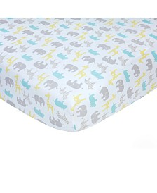 Carter's 100% Cotton Sateen Fitted Crib Sheet - Neutral Safari