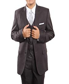 Tazio Peak Lapel 2 Button Solid Vested Suits for Boys