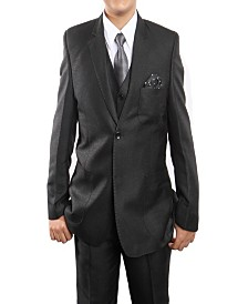 Tazio Solid Textured Classic Fit 2 Button Vested Suits for Boys