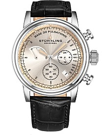 Stuhrling Men's Quartz Pulsometer Chronograph, Faded Off-White Dial, Black Leather Strap Watch