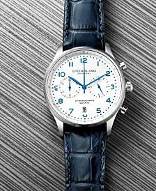 Stuhrling Men's Chrono, Silver Case, White Dial, Blue Leather Strap Watch