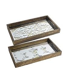 Greta Rectangular Glass & Wood Trays, Large, Set of 2