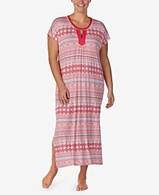 Printed Pom-Pom Trim Caftan Nightgown