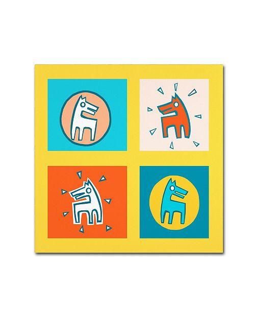 "Trademark Global Miguel Balbas 'Pattern Dogs 1' Canvas Art - 35"" x 35"" x 2"""
