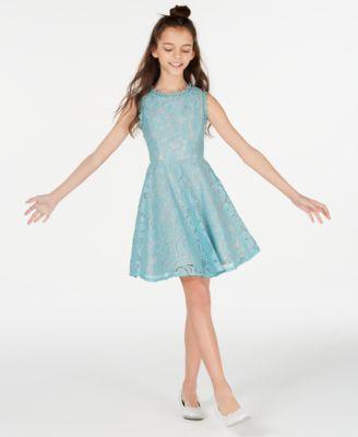 Girls Blue Lace Dress