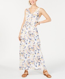 Lucky Brand Floral Tie Waist V-Neck Maxi Dress