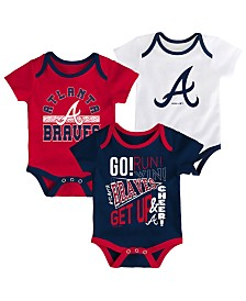 Outerstuff Baby Atlanta Braves Newest Rookie 3 Piece Bodysuit Set