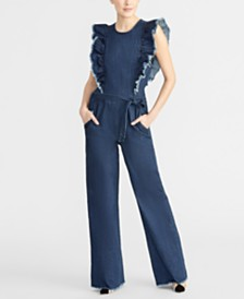 RACHEL Rachel Roy Nikita Ruffled Denim Jumpsuit