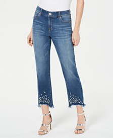I.N.C. Imitation-Pearl Hem Curvy Ankle Jeans, Created for Macy's