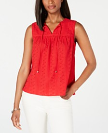 Tommy Hilfiger Eyelet Cotton Top, Created for Macy's
