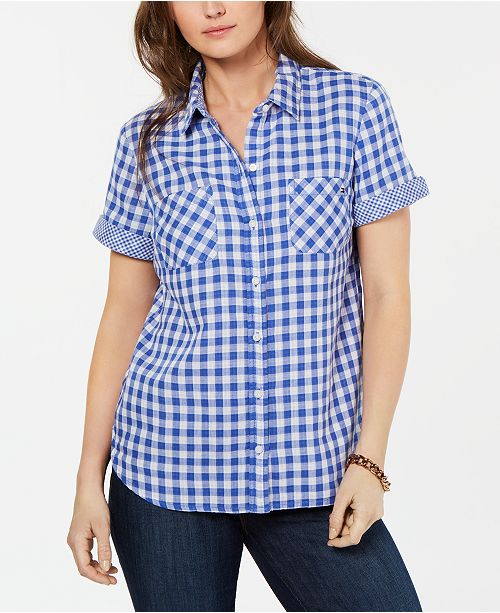 Tommy Hilfiger Cotton Gingham Camp Shirt, Created for Macy's