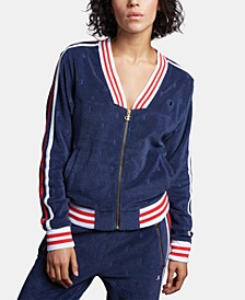 V-Neck Striped Warm-Up Jacket