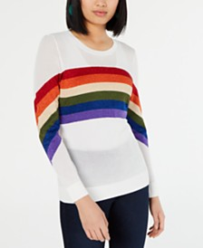 I.N.C. Rainbow-Stripe Pullover Sweater, Created for Macy's