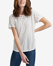 Embroidered Cutout-Detail Top