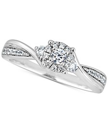 Diamond Cluster Engagement Ring (1/3 ct. t.w.) in 14k White Gold