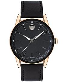Men's Swiss Museum Black Leather Strap Watch 42mm
