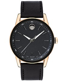 Movado Men's Swiss Museum Black Leather Strap Watch 42mm